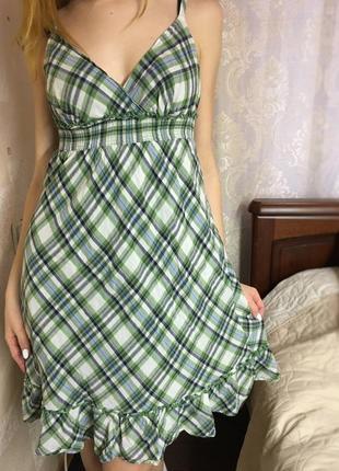 Платье сарафан зеленое в клетку faded glory