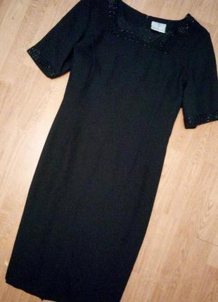 Черное платье миди на подкладке с бисером классическое офисное нарядное