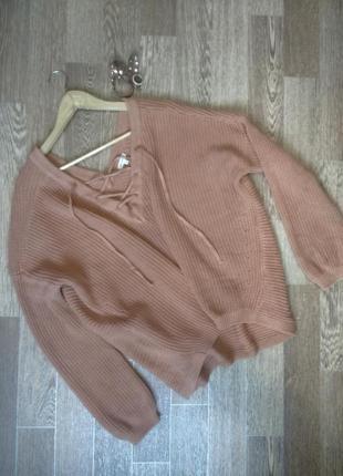 Трендовый обьемный свитер оверсайз со шнуровкой