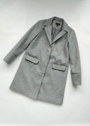 Серое пальто topshop 36/8