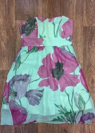 Бирюзовое летнее шелковое платье coast