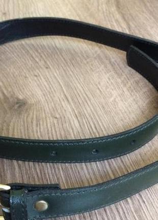 Изумрудный  зеленый бутылочный кожаный пояс ремень