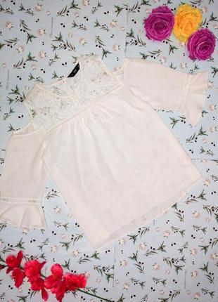 Акция 1+1=3 оригинальная белая блуза с кружевом f&f, размер 48 - 50