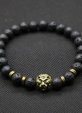Крутой мужской тибетский браслет из вулканической лавы