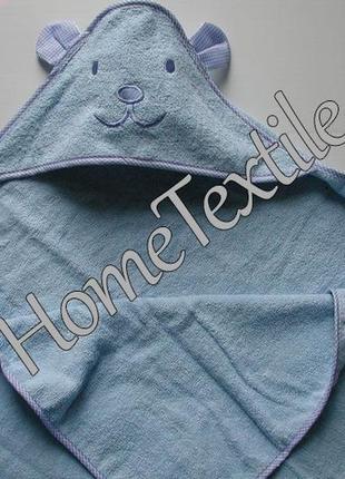 Махровое полотенце уголок мишка, синий
