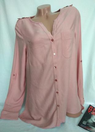 Красивая удлиненная розовая вискозная рубашка на пуговках р. m/ 38 , от atmosphere