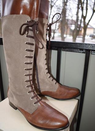 Модные кожаные сапоги р.41 27 см made in greece замш демисезонные
