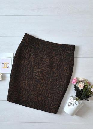 Трендова шерстяна юбка в леопардовий прінт hobbs.