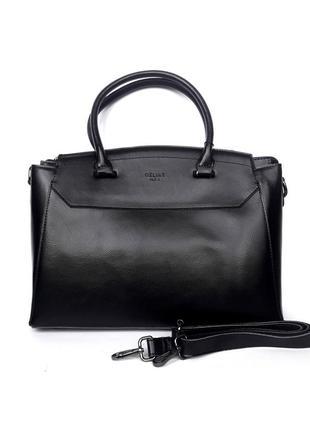 """Женская кожаная сумка """"majestic"""" черная"""