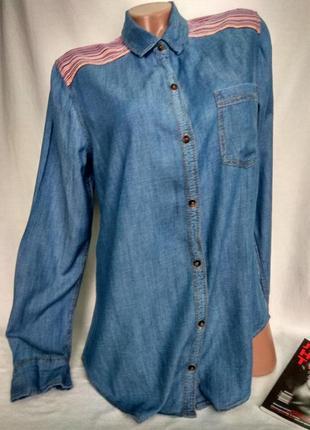 Тонкая комбинированная джинсовая удлиненная рубашка  р. m-l/ 38 , от hollister