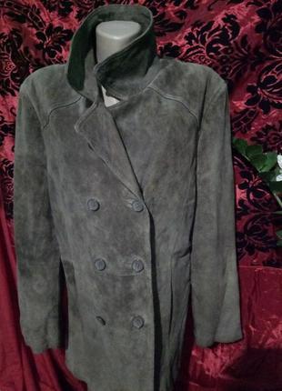 **canda**актуальная куртка- пиджак натуральный замш uk16 пог-56см