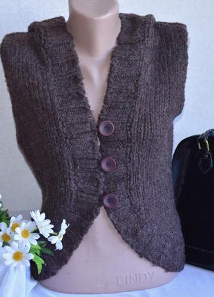 Брендовая коричневая вязаная теплая жилетка с капюшоном soulcal&co шерсть акрил