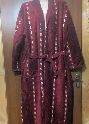 Махровый велюровый халат с долларами
