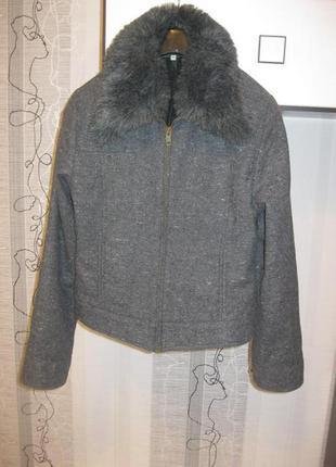 Обвал цен!актуальная куртка-бомбер шерсть серый меланж мех воротник м-л, 44-46