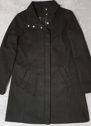 Классическое черное шерстяное пальто/прямое