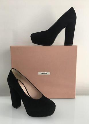 Туфли miu miu черные замшевые на каблуке Miu Miu, цена - 4000 грн ... 46267dbdecb