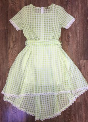 Зеленое летнее платье кубик olko