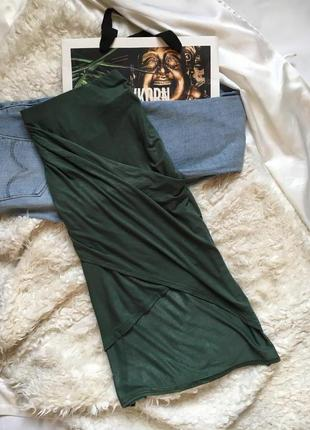 Хаки юбка в обтяжку длины миди с драпировкой/ассиметричная с высокой талией boohoo