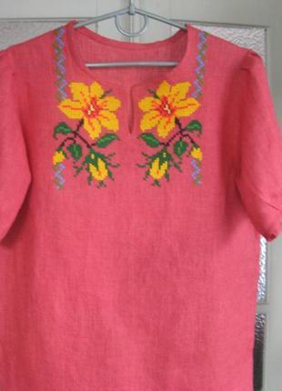 Вышитая блузка льняная, вышиванка из льна ручной работы
