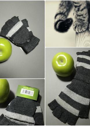 Перчатки полосатики митенки полосатые без пальцев в полоску варежки полоска