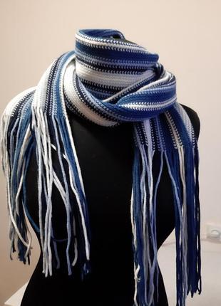 Шарф сине-белый