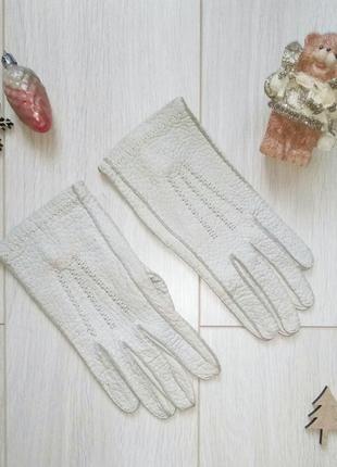 Кожаные светлые бежевые перчатки