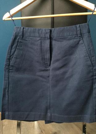 Распродажа. классическая офисная синяя юбка с высокой талией