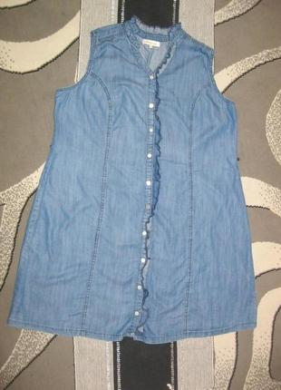 Джинсовое платье рубашка разлетайка эвкалипт экоткань лиоцелл большой размер 52 6xl /60