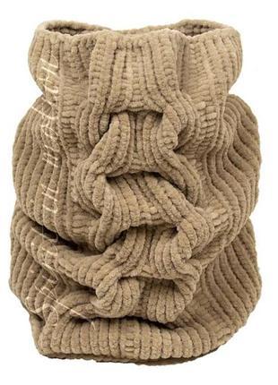 Нежный вязаный шарф снуд  песочный цвет