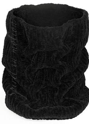 Плюшевый вязаный шарф снуд угольно - черный