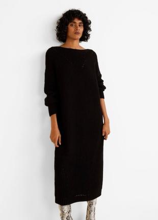 Макси платье mango миди трикотажное платье черное вязаное длинное платье за колено