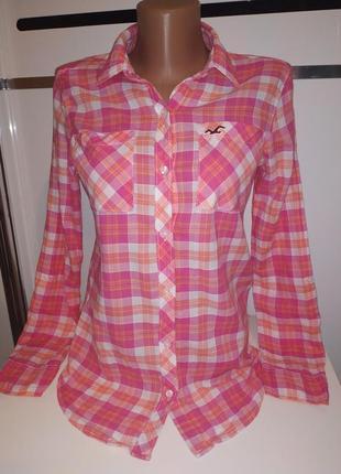 Рубашка в клетку розовая hollister xs