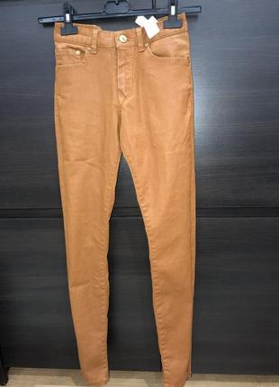 Рыжие скини с пропиткой кожаные штаны zara xs