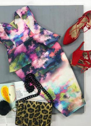 Роскошное неопреновое платье бюстье с воланом asos
