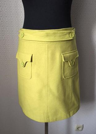 Мегаяркая моднявая полушерсяная юбка от promod, размер примерно м-l