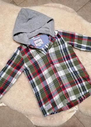 Стильная рубашка в клетку с капюшоном pepe jeans на 7 лет