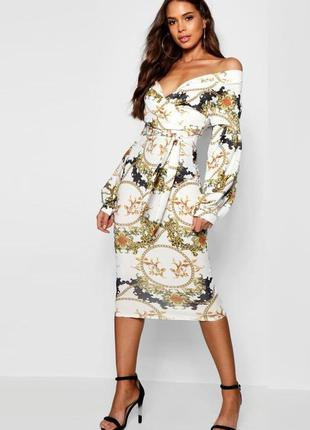 Платье boohoo миди на запах с пышными рукавами  и византийским принтом с сайта asos