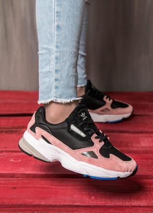 Шикарные женские весенние кроссовки adidas falcon pink/ black