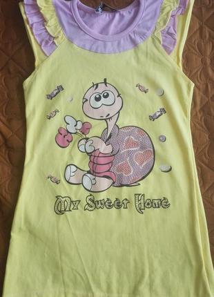 Летнее удобное платье с черепашкой, на 6 лет