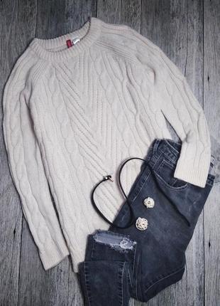 Теплый шерстяной свитер с косами от h&m