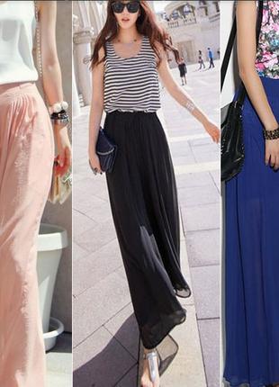 Шифоновые брюки клеш широкие стильные цвет пудра