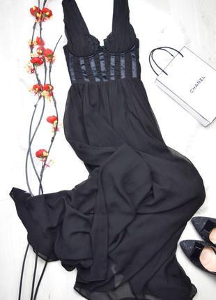 Чёрное красивое нежное женственное платье в пол а-силуэт