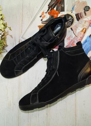 Ecco. кожа. оригинал. стильные высокие кеды, спортивные ботинки