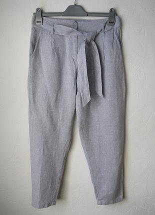 Льняные укороченые зауженые к низу брюки