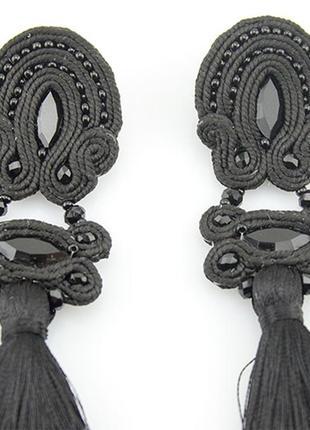 Черные серьги кисти ручной работы сутажные4