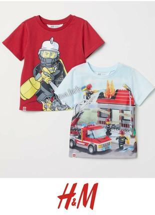 Комплект 2 шт футболка летняя лего пожарные от h&m