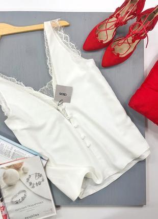 Блуза, топ в бельевом стиле с кружевом на пуговках asos