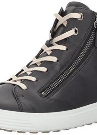 Демисезонні шкіряні черевики високі кеди ecco soft