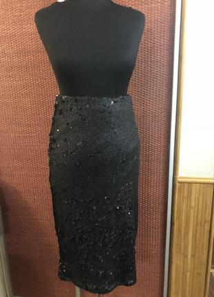 Шикарная миди юбка паетка