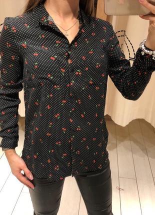 Чёрная рубашка в мелкий принт натуральная блуза house есть размеры